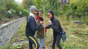 Kiani, Natalie, and Sherese take on the agricultural work at Capital Roots